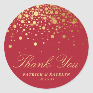 Faux Gold Foil Confetti Dots Thank You | Red Classic Round Sticker
