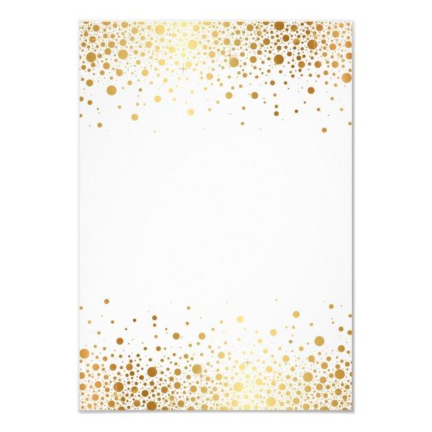 Faux Gold Foil Confetti Dots Wedding Rsvp Card 9 Cm X 13