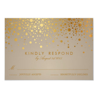 Faux Gold Foil Confetti Dots Wedding RSVP Card II