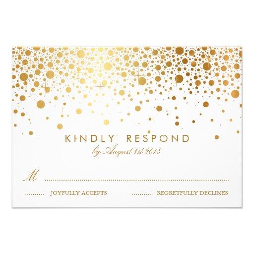 Faux Gold Foil Confetti Dots Wedding RSVP Card
