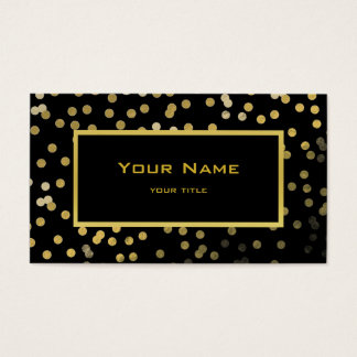 faux gold foil confetti elegant modern on black business card