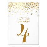 "Faux Gold Foil Confetti Elegant Table Number Card 5"" X 7"" Invitation Card"