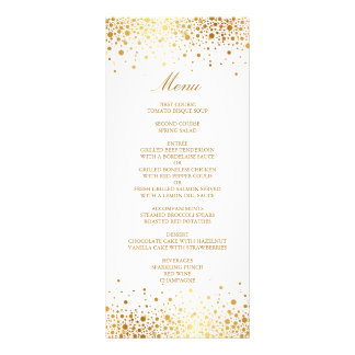 Faux Gold Foil Confetti Elegant Wedding Menu Card Full Colour Rack Card