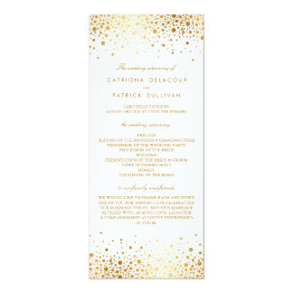 Faux Gold Foil Confetti Elegant Wedding Programs 10 Cm X 24 Cm Invitation Card