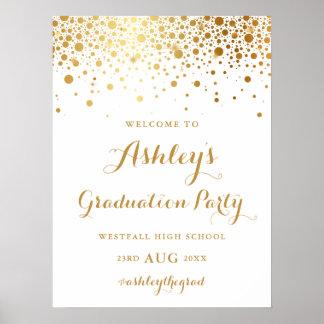 Faux Gold Foil Confetti Graduation Party Poster