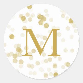 Faux Gold Foil Confetti Monogram Classic Round Sticker