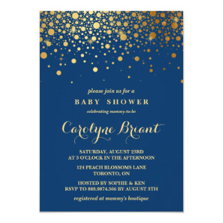 Faux Gold Foil Confetti | Navy Baby Shower 13 Cm X 18 Cm Invitation Card