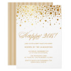 Faux Gold Foil Confetti New Year's Eve Party Card