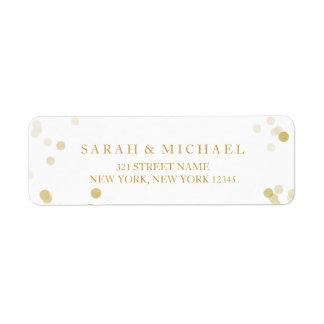 Faux Gold Foil Confetti Personalized Return Address Label