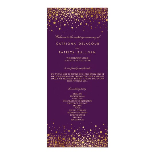 Faux Gold Foil Confetti Purple Wedding Program