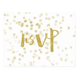 Faux Gold Foil Confetti RSVP Postcard
