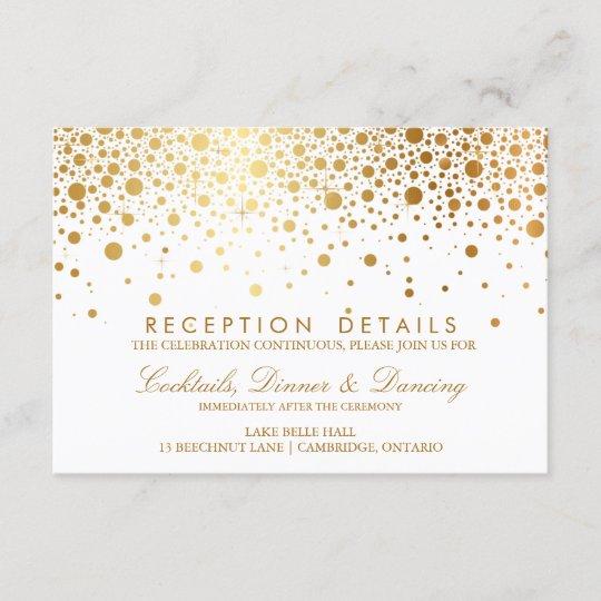 faux gold foil confetti wedding reception card zazzle com au
