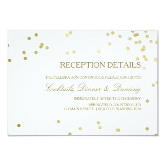 Faux Gold Foil Confetti Wedding Reception Details Card