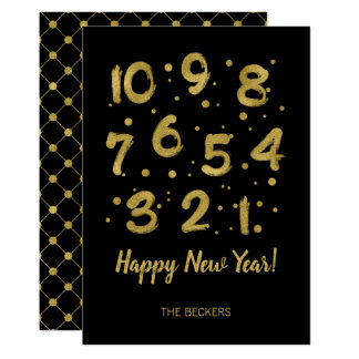 Faux Gold Foil Countdown New Year's Card