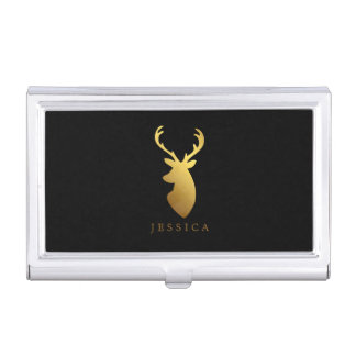 Faux Gold Foil Deer Head Personalized Business Card Holder