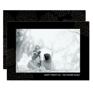 Faux Gold Foil Fireworks New Years Photo Card