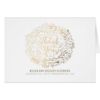 Faux Gold Foil Floral Bouquet Wedding Thank You Note Card