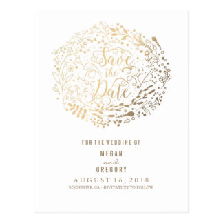 faux gold foil floral bouquet wreath save the date postcard