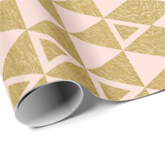 Faux Gold Foil Geometric Triangle Pattern Wrapping Paper