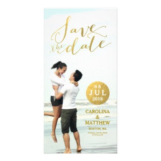 Faux Gold Foil Glamor | Save the Date Photo Card