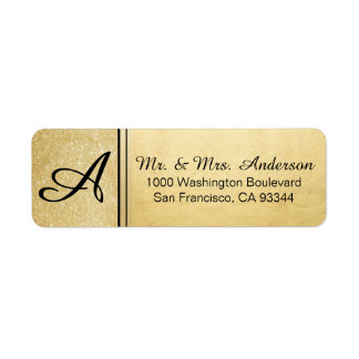 Faux Gold Foil Glitter Monogram Return Address Return Address Label