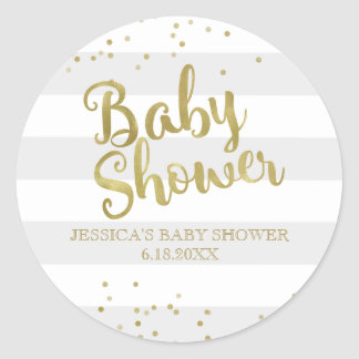 Faux Gold Foil Grey Stripes Baby Shower Favour Classic Round Sticker