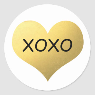 Faux gold foil heart xoxo classic round sticker