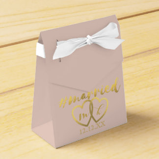 Faux Gold Foil Hearts Hashtag Married Bridal Blush Wedding Favour Box