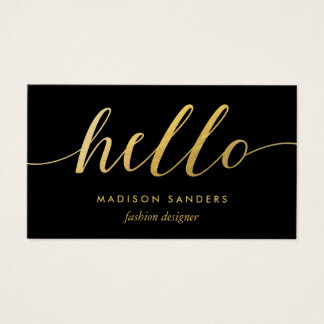 Faux Gold Foil Hello Typography Classic Black Business Card
