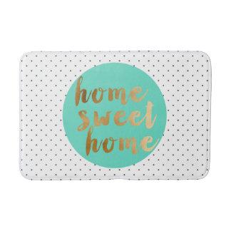 faux gold foil Home Sweet Home polka dots pattern Bath Mat