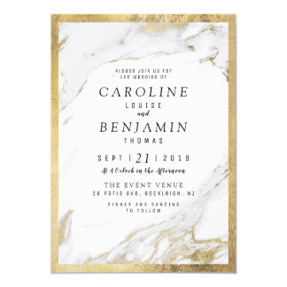 Faux gold foil marble luxury modern wedding card