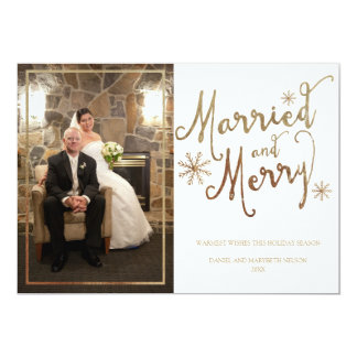 Faux Gold Foil MARRIED AND MERRY   2015 Holiday 13 Cm X 18 Cm Invitation Card