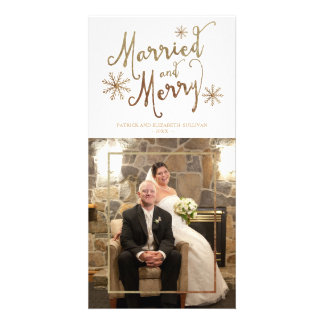 Faux Gold Foil MARRIED AND MERRY | 2015 Holiday Photo Card