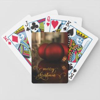 Faux Gold Foil Merry Christmas w/ Red Glass Balls Bicycle Playing Cards