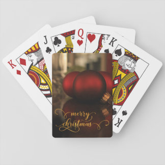 Faux Gold Foil Merry Christmas w/ Red Glass Balls Playing Cards