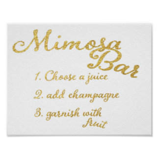 Faux Gold Foil Mimosa Bar Recipe Wedding Sign Poster