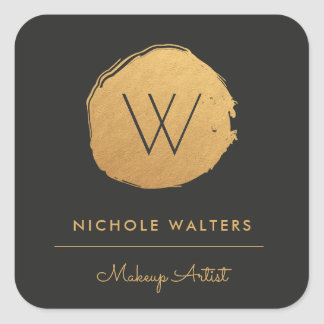 Faux Gold Foil Monogram Business Sticker Labels