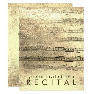 FAUX gold foil music recital Card