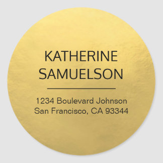Faux GOLD FOIL Name & Return Address Classic Round Sticker