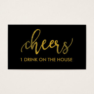 Faux Gold Foil New Year - Cheers Drink Ticket/Pass Business Card