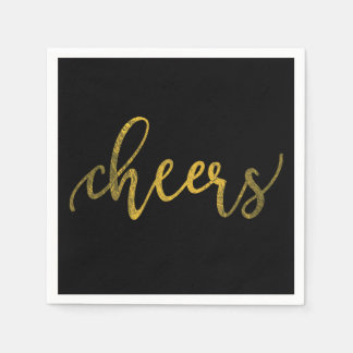 Faux Gold Foil New Year Party - Cheers Disposable Serviette
