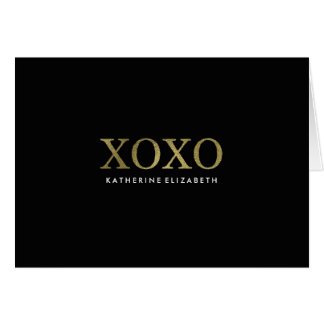 Faux Gold Foil on Black XOXO Folded Thank You Card
