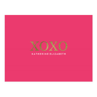 Faux Gold Foil on Hot Pink XOXO Thank You Card Postcard