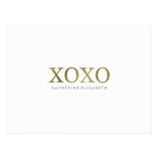 Faux Gold Foil on White XOXO Flat Thank You Card Postcard