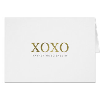 Faux Gold Foil on White XOXO Folded Thank You Card
