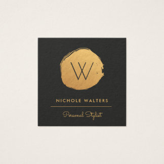 Faux Gold Foil Painted Circle Business Cards