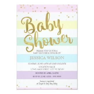 Faux Gold Foil, Pastel Rainbow Stripes Baby Shower 13 Cm X 18 Cm Invitation Card