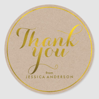 Faux Gold Foil Personalized Thank You Round Sticker
