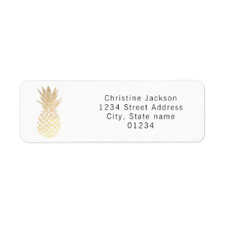 faux gold foil pineapple return address label