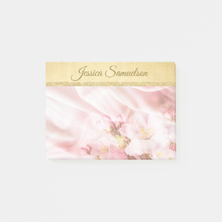 Faux Gold Foil & Pink Cherry Blossoms | Add NAME Post-it Notes